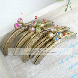 Wholesale Metal Frame Purses - 10pcs lot Antique bronze 8.5 CM Sewing Purse Hasp frame orchid pattern,metal purse frame ,Mixed color wholesale ,Freeshipping