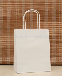 white paper bag wholesaler Australia - Free Shipping White Paper Handled Kraft Paper Jewelry Gift Packaging Shopping Bags For Boutique, 50pcs 18x15x8cm