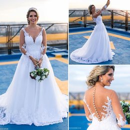 Wholesale Sexy White Sweetheart See Through - Vintage 2017 Lace Sweetheart Wedding Dresses Sheer Neck Beads See Through Back A Line Plus Size Wedding Gowns Cheap Bridal Gowns