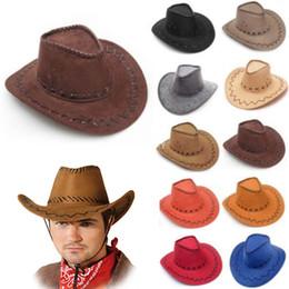 Wholesale Wide Brim Mens Hats Wholesale - Cowboy Hat New Suede Look Wild West Fancy Dress Mens Ladys Cowgirl Unisex Adult Women Men Children Visor Knight Wide Brim Hats HH-H06