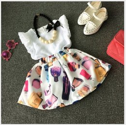 Wholesale Perfume Brand Top - Retail 2016 Summer Baby Girl White Sleeveless Vest Tops+Perfume Printed Tutu Skirt 2pcs Sets Girls Suits Kids Outfits Children Clothing Set