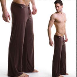 Wholesale Satin Pyjamas Men - men's yoga pants sleep bottoms satin so comfortable silk fabric Male trousers causal Home family pyjamas Night clothes bath