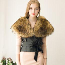 Wholesale Ladies Gray Leather Jacket - Elegant Women Ladies Cropped Vest With Big Fur Collar Slim Black Belt Faux Leather Coat Jacket Autumn Winter Outwear S-3XL CJF0906