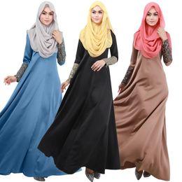 Wholesale Dubai Women Clothing - Newest Islamic Muslim long maxi Dresses for Women 2016 Long sleeves zipper Dresses Malaysia Abayas in Dubai Turkish Ladies Clothing