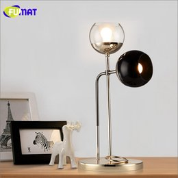 Wholesale North Table - FUMAT Art Glass Bubbles Table Lamp North European Modern Brief Metal LED Table Lamp Living Room Office Bedroom Bedside Lights