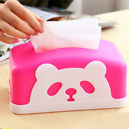 Wholesale New Decorating For Home - Wholesale- New Panda Rectangle round Tissue Boxes for Kitchen   Bedroom, Car and Napkin Home Decorated Tissue Boxes opp plastic