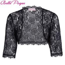 Wholesale Girl Black Lace Coat - Wholesale- Belle Poque Bolero 2017 Fall Tassel 3 4 Sleeve Crop White Black Lace Shrug Jacket Women Slim Outwear Short Coat Boleros For Girl