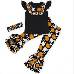 Wholesale Carton Set Girl - Autumn Enfant Clothing Sets,Halloween Carton Print Girls Clothing Sets,Pumpkin Pattern Vetement Enfant Fille,Ruffle Girl Clothes