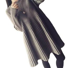 langhülse reich taille mutterschaft kleider Rabatt Großhandels-Mittellange gestrickte Strickjacke Herbst-Kleid für Frauen A-Line Langarm gestrickte gefaltete Umstandsmode lose Reich Taille Kleider