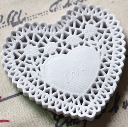 Wholesale Doily Hearts - Wholesale- Heart Shape Lace decoupage paper design Doilies Placemat Crafts for DIY Scrapbooking Card Making Wedding Table Decoration 10cm