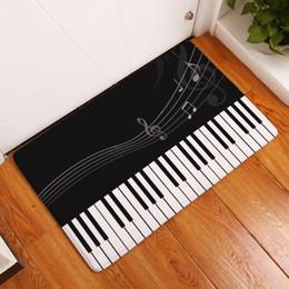 Tapis de tapis de cuisine noirs en Ligne-moderne imprimé note de musique tapis noir couloir tapis intérieur extérieur tapis de sol pour bureau à domicile cuisine salle de bains paillasson