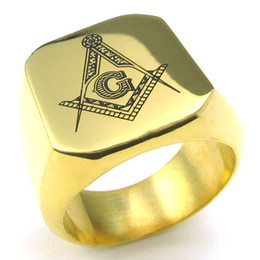 Wholesale Classic Mens Rings - 072131-WholesaleCool Elegant Fashion Jewelry Rings classic jewelry wedding bands stainless steel masonic mens gold plated rings US Size 8-15