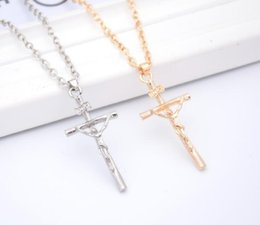 Wholesale Real Men Gold Jewelry - New Cross Necklace Women Men Jewelry Wholesale Trendy Platinum Real Gold Plated INRI Crucifix Jesus Cross Chain Pendant cc646