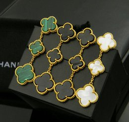 Wholesale Woman Stainless Steel Earings - Fine Special Offer Women love Earings Fashion clover jewelry Ear Cuff Natural Shell Agate Clover Sizes 18k Stud 3 flowers Earrings