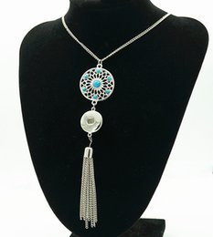 Wholesale snap tassels - Hot DJ0178 Charming turquoise pattern charm tassel ginger snap necklace 70CM fit 18mm ginger snap buttons Accessories