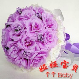 Wholesale Cheap Artificial Bouquets For Weddings - 2016 Purple Bouquets for Brides Bridesmaids Junior Bridesmaids Flower Girl Bouquets Lovely Purple Hand Bouquets Cheap Price Artificial Rose