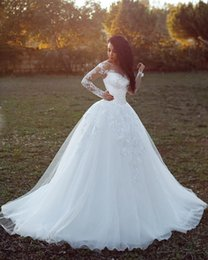 Wholesale Simple Elegant Cheap Ball Gowns - Elegant Lace Ball Gown Wedding Dresses Long Sleeve Lace Appliqued Bridal Gowns Cheap Counrty Saudi Arabic 2018 Plus Size Wedding Dress