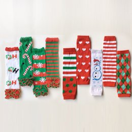 Wholesale Snowman Leg Warmer - 2016 Christmas costume Cartoon Xmas snowman stanta High quality Children socks baby Leggings knee socks infant leg warmer 60 pair lot