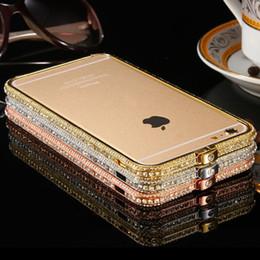 Wholesale Aluminum Glitter Case - Full Shiny Rhinestone Bumper For iPhone 6 4.7   Plus 5.5 5S 5 Deluxe Glitter Hard Aluminum Metal Diamond Mobile Phone Case Cover Fashion
