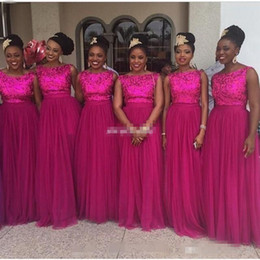 Wholesale Hot Pink Fuschia Wedding - 2016 Long Fuschia Bridesmaids Dress Hot Pink Sequins Evening Dresses Plus Size Tulle Formal Maid of Honor Wedding Guest Gowns Sleeveless