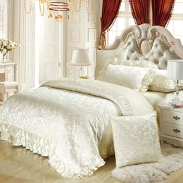 Wholesale Bedspread Silk - Wholesale-6pc 4pc Silk satin cotton blend luxury bedding set king queen duvet cover sets wedding white bedspreads