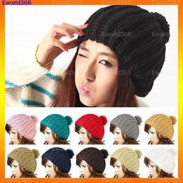 Wholesale Vintage Skis - 10x2015 Winter Fashion Women Ladies Wool Knit Knitted Beanie Vintage Bobble Cap Pom Pom Ski Hat 10 Colors Free Shipping