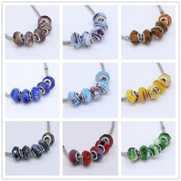 Wholesale Bracelet Murano Rondelle - Wholesales 50pcs Lot Mix Two Colors Murano Glass Crystal Faceted Rondelle Spacer Big Hole Charms Beads For Making European Jewelry Bracelet