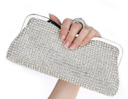 Wholesale Diamond Bag Rhinestone - NEW Rhinestones Women Clutch Bags Diamonds Finger Ring Evening Bags Crystal Wedding Bridal Handbags Purse Bags Black Gold Silver