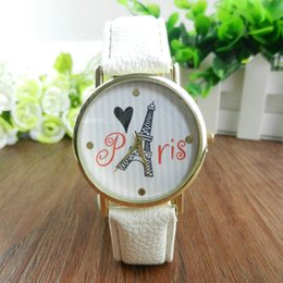 Wholesale Lovely Eiffel - High quality Women's Geneva Watch Eiffel Tower Paris Lovely Printed Dial Watches Leather Analog Quartz Wrist Watch