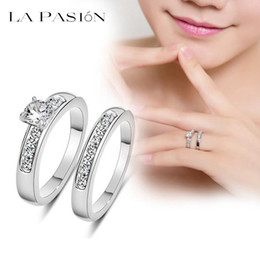 Wholesale Gold Brilliant Rings - lapasion Brand White Gold Plated 0.5ct Brilliant with Pave Band Cubic Zirconia Wedding Ring Set for wedding women fashion jewelry