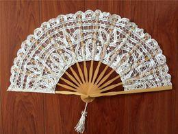 Wholesale Lace Bridal Fans - vintage palace Handmade white Battenburg lace full battenburg wedding hand Fan 27cm 14PCS Bamboo bone bridal accessories high quality S103