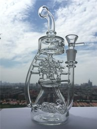 Wholesale Violet Glass - 2016 New arrival Glass Water Pipes Glass Bongs Recycler Oil Rigs Violet Recycler With Double Tyre With 14.4mm Joint Glass Bong