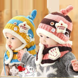 Wholesale Crochet Sets For Infants - Winter Baby Hat Scarf Set Joint With Dog Style Crochet Knitted Caps for Infant Boys Girls Children New Fashion Kids Neck Warmer