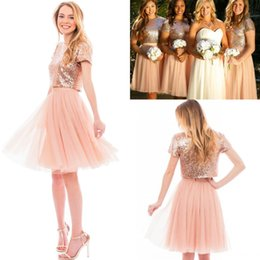 Wholesale Knee Length Sequin Bridesmaid Dresses - 2017 Cheap Sparkly Sequined Top A Line Bridesmaid Dresses Short Sleeves Jewel Neck Knee Length Maid of Honor Gowns Wedding Party Dresses
