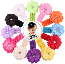 Wholesale Stretchy Lace Baby Headbands - 50 pcs baby Headwear Head Flower Hair Accessories 4 inch Chiffon flower with soft Elastic crochet headbands stretchy hair band