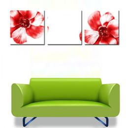 malereien frida kahlo Rabatt Mode Kunst Bild Große Rote Blumen Bild Home Decoration Druck auf Leinwand Wandmalerei Kunst Set von 3 Stück