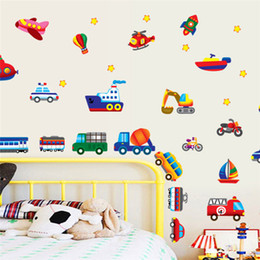 Wholesale Wall Decals Bikes - 100pcs cars train motor bike ship transportation wall stickers for kids room decorations decals wall art children sticker AY7212