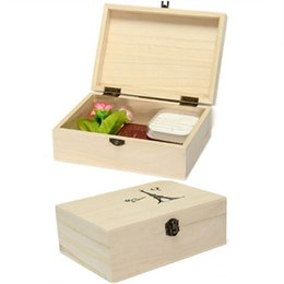 Wholesale Wooden Postcards Wholesale - Wholesale- Useful Home Storage Box Natural Wooden With Lid Golden Lock Postcard Home Organizer Handmade