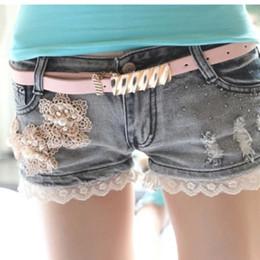 Wholesale Ladies Jeans Short Skirt - Girl Elastic low Waist Denim Shorts Women Short Pant Lady Stretch Lace Crochet Cut-Off Jeans