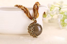 Wholesale Turkish Beads Wholesale - Fashion 2016 Ethnic colorful natural peacock pendant necklace women bohemian stone beads with multilayer Turkish jewelry chain