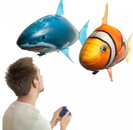 Wholesale Inflatable Clowns - IR RC Drone Air Swimmer Shark Clownfish Flying Air Swimmers Inflatable Assembly Swimming Clown Fish Remote Control Blimp Balloon