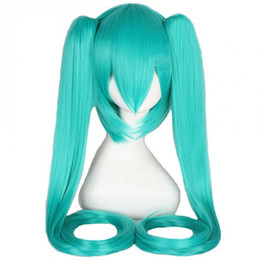 Wholesale Clip Long Ponytail - WoodFestival VocAloid series Hatsune Miku + 2 Clip On Ponytail wig green long straight heat resistant synthetic fiber wig cosplay hair wigs