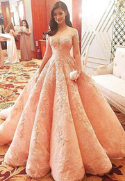 Wholesale Celebrity Wedding Ball Gowns - Blush 2018 Wedding Dresses Lace Princess Formal Long Bridal Gowns Celebrity Dress Ball Gowns With Sweetheart Neck Cap Sleeves Sheer Back Lon