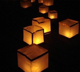 Wholesale Chinese Paper Wish Lanterns - Paper Lanterns Water Floating Light Square Chinese Lanterns Water Blessing Light Festival Lanterns Floating Wishing Light Water Candle Light