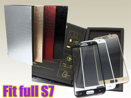 Wholesale Silk Glasses Box - 9H 0.2mm anti-explosion 3D silk printing full cover screen protector films full fit tempered glass for samsung S7 with retail box Free DHL