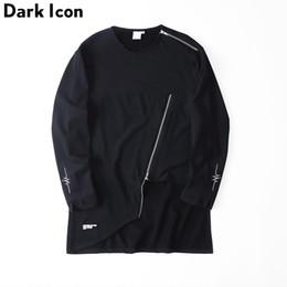 Wholesale Flash Sweatshirt - Wholesale- Irregular Slanted Zipper Hip Hop Sweatshirts O-neck Flash Embroidery Terry Material Mens Sweatshirt Black Male Clothing