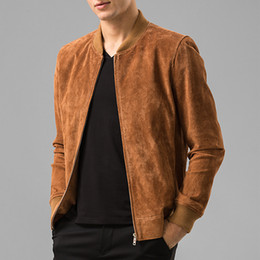Wholesale Men S Real Leather Jacket - Fall-Men's Pigskin real leather jacket Genuine Leather Baseball jacket men leather bomber jackets biker jacket