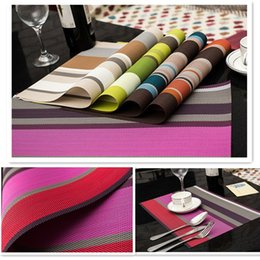 Wholesale Colorful Dining Table - Wholesale- 4pcs lot Elegant Colorful Stripe PVC Table Mat Best Christmas Gifts Classic Heat Insulated PVC Tableware Mats Dining Table Mat