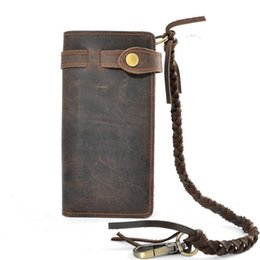 Wholesale Men Cluth Bags - High Quality Designer Chain wallet long style Crazy Horse Natural Cowhide Vintage Leather Purse with handmade men bag cluth