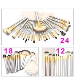 Wholesale 24 Pcs Makeup Brushes - 12 18 24 Pcs Professional Makeup Brushes Set Soft Synthetic Make Up Brush Eyeshadow EyBlush Eyeshadow Brush Set with Leather Bag free ship